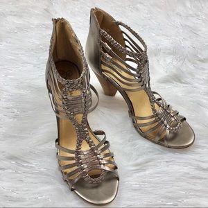 Seychelles Bronze Metallic Braided Strappy Heels